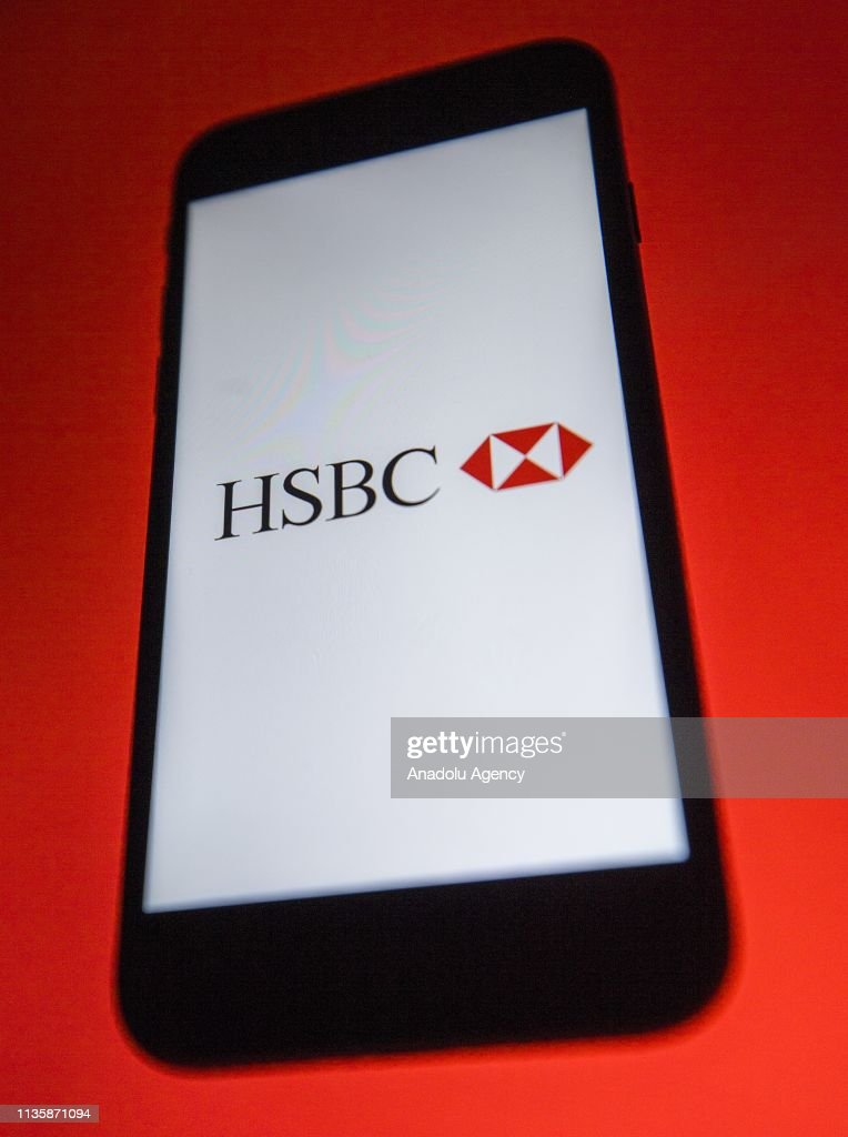 Bank logo is seen on a smartphone, in Ankara, Turkey, on April 5