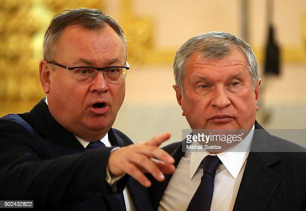 VTB Bank Management board Chairman Andrey Kostin abd Rosneft President Igor Sechin attend RussianIndian talks in Grand Kremlin Palace in Moscow...