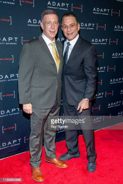 Bank New York Market President Peter M Meyer and Tony Danza attend the 2019 Adapt Leadership Awards at Cipriani 42nd Street on March 14 2019 in New...
