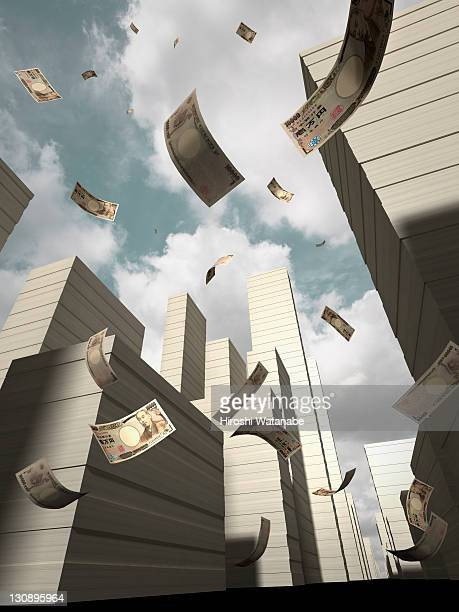 Bank note falling on the bank note city