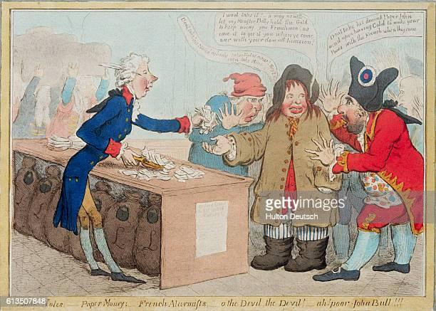 Bank notes Paper Money French Alarmists Ah Poor John Bull Political Cartoon by James Gillray
