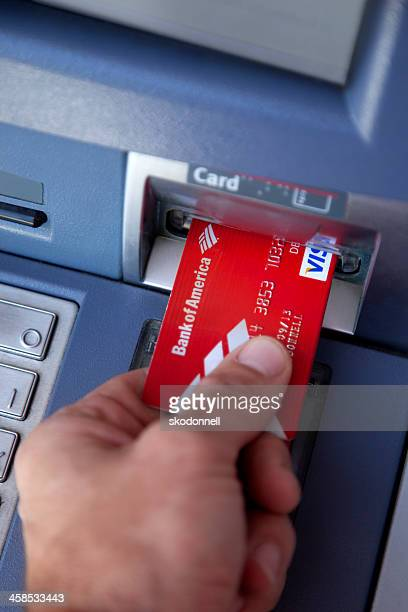 bank of america atm card - bank of america stock pictures, royalty-free photos & images