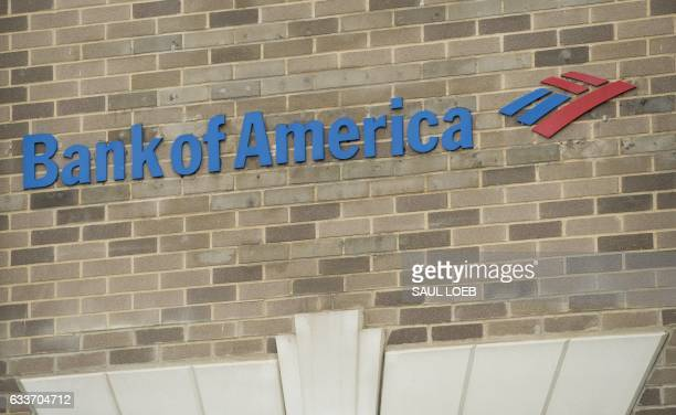A Bank of America branch is seen in Washington DC February 3 2017 Wall Street stocks rose early Friday on a solid US jobs report as shares of large...