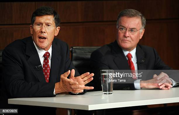 Bank of America CEO Ken Lewis and Merrill Lynch CEO John Thain attend a press conference at Bank of America headquarters September 15 2008 in New...