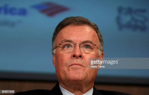 Bank of America CEO Ken Lewis speaks at a press conference at Bank of America headquarters September 15 2008 in New York City Lewis discussed the...