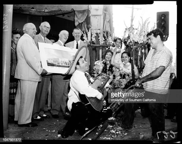 Bank of America groundbreaking on Olvera Street 21 August 1958 Walter J BraunschweigerJohn A HennesseyJohn Anson FordJohn S GibsonJoe RodriguezLalo...