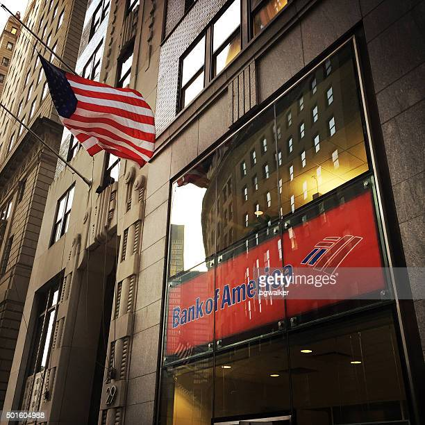 bank of america in financial district nyc - bank of america stock pictures, royalty-free photos & images