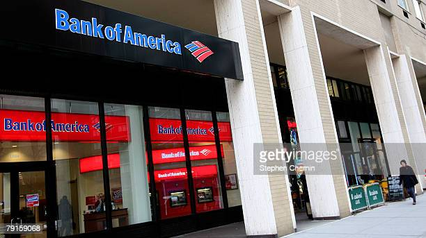Bank Of America is seen January 22 2008 in New York City Bank Of America's fourthquarter earnings fell 95 percent as its revenue fell 31 percent to...