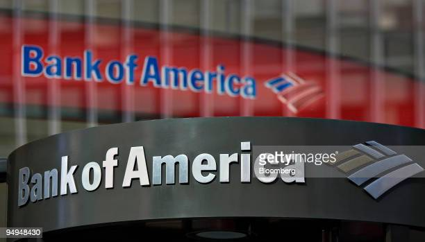 Bank of America logo hangs above a bank branch entrance in New York US on Monday Feb 23 2009 Citigroup Inc and Bank of America Corp two of the three...