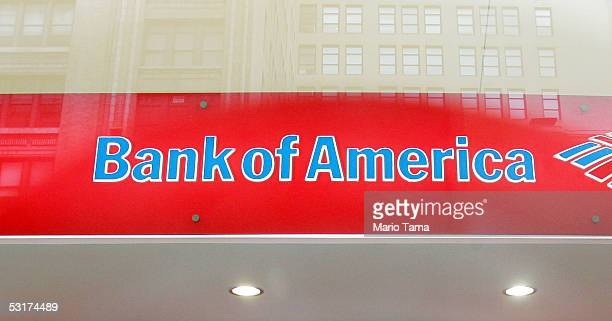 Bank of America logo is seen in a branch June 30 2005 in New York City Bank of America Corp the second largest US bank agreed to buy MBNA Corp for...