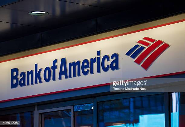 Bank of America signage and logo pictured on its building in New York City Bank of America is an American multinational banking and financial...