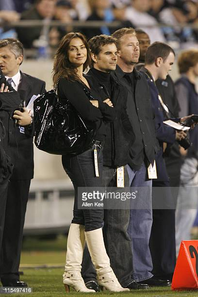Driver Jeff Gordon and wife Ingrid Vandebosch Tampa Bay Buccaneers vs Carolina Panthers November 13 2006 Bank of America Stadium in Charlotte North...
