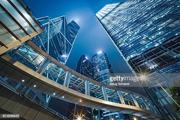 Bank of China Tower at dusk, Hong Kong