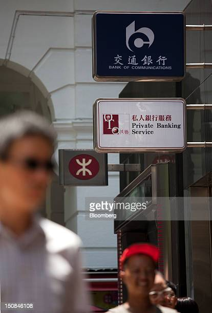 Bank of Communications Co signage top is displayed outside a bank branch in Hong Kong China on Monday Aug 27 2012 Bank of Communications is scheduled...