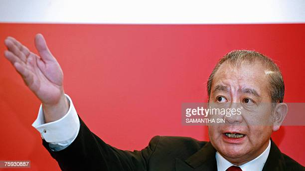 Bank of East Asia chairman David Li gestures during a press conference on the interim result of the bank in Hong Kong 02 August 2007 The thirdlargest...