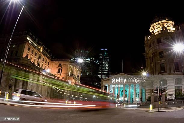 Bank of England and Royal Exchange, London, night motion blur