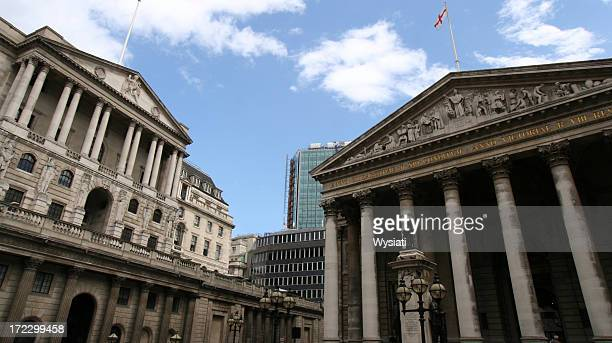 bank of england and royal exchange - bank of england stock photos and pictures