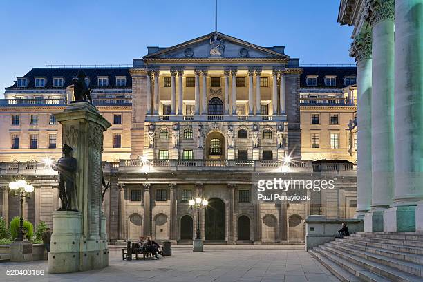 Bank of England and The Royal Exchange at dusk, London, UK