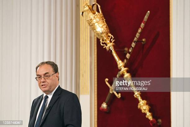 Bank of England Governor Andrew Bailey speaks at the Financial and Professional Services Address, previously known as the Bankers dinner, at Mansion...