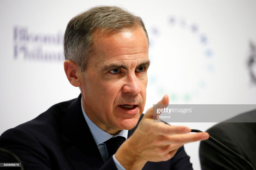 Bank of England Governor Mark Carney attends a press conference during the One Planet Summit at the Seine Musicale on the Ile Sequin on December 12 in Boulogne-Billancourt, France. Around 50 world leaders and environmental activists are taking part in a major climate summit in Paris called 'One Planet Summit' two years after Paris Agreement Cop 21.