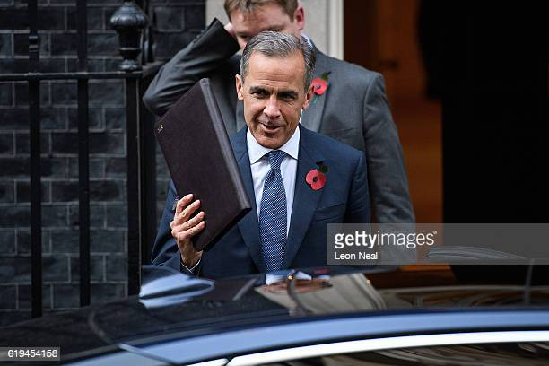 Bank of England Governor Mark Carney leaves 10 Downing Street on October 31 2016 in London England Prime Minister Theresa May believes he is the...