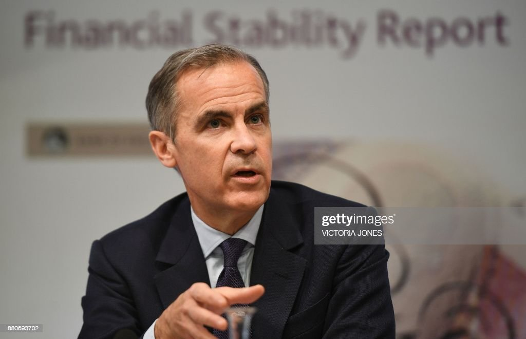 Bank of England Governor Mark Carney speaks during the Bank of England's financial stability report at the Bank of England in central London on November 28, 2017. Britain's lenders could support the economy through a 'disorderly' Brexit, the Bank of England said Tuesday, as the sector passed its latest round of stress tests. / AFP PHOTO / POOL / Victoria Jones