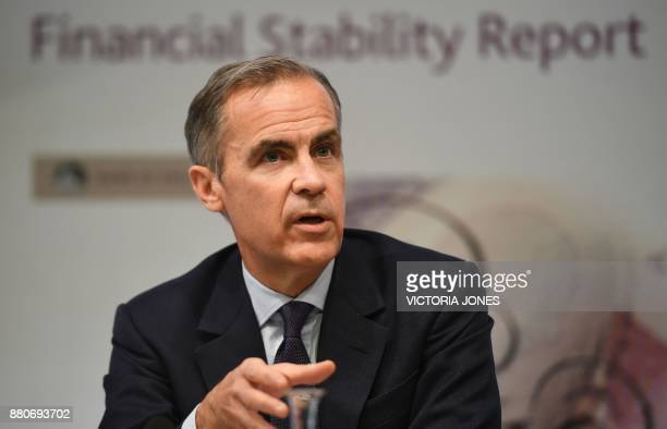 Bank of England Governor Mark Carney speaks during the Bank of England's financial stability report at the Bank of England in central London on...