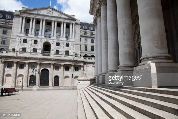 Bank of England in the City of London financial district is virtually deserted due to the Coronavirus outbreak as lockdown continues and people...