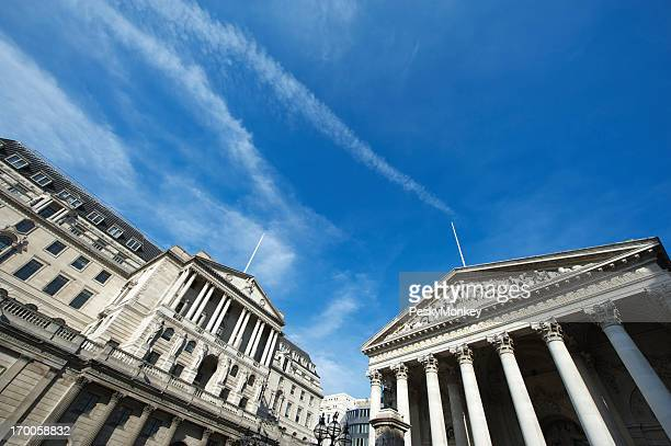 Bank of England with Columns and Blue Sky