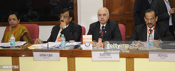 Bank Of India Chairperson VR Iyer Dena Bank Chairman Ashwani Kumar Central Bank Of India Chairman Rajeev Rishi and UCO Bank Chairman Arun Kaul at a...