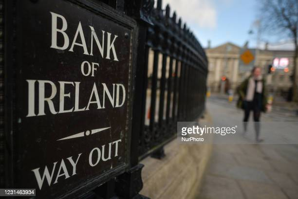 Bank of Ireland College Green branch in Dublin city center during Level 5 COVID-19 lockdown. Bank of Ireland is due to close 103 branches across...