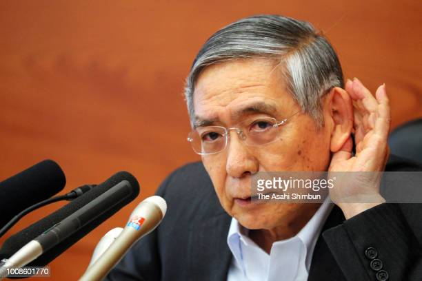 Bank of Japan Governor Haruhiko Kuroda attends a press conference at the BOJ Headquarters on July 31 2018 in Tokyo Japan The BOJ Policy Board decided...