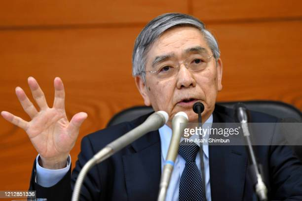 Bank of Japan Governor Haruhiko Kuroda attends a press conference on March 16, 2020 in Tokyo, Japan.