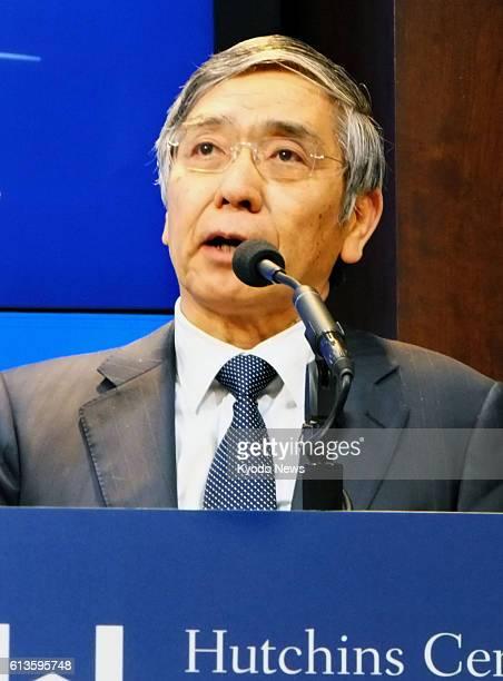 Bank of Japan Governor Haruhiko Kuroda delivers a speech at the Brookings Institution think tank in Washington on Oct 8 2016 Kuroda said the BOJ is...