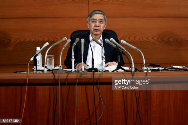 Bank of Japan Governor Haruhiko Kuroda speaks during a press conference in Tokyo on July 20, 2017. The Bank of Japan early on July 20 slashed its...