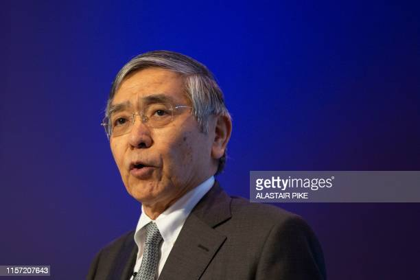 Bank of Japan Governor Haruhiko Kuroda speaks during the 2019 Michel Camdessus Central Banking Lecture at the International Monetary Fund...