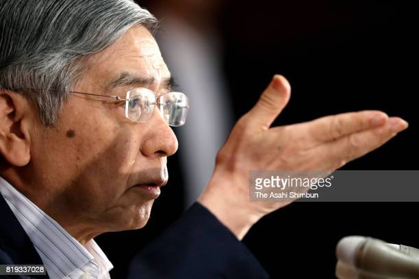 Bank of Japan Governor Hiaruhiko Kuroda speaks during a press conference after the policy meeting at the BOJ headquarters on July 20, 2017 in Tokyo,...