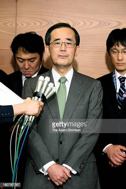 Bank of Japan governor Masaaki Shirakawa speaks to the media reporters after meeting with Prime Minister Shinzo Abe at BOJ headquarters on February...