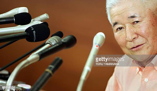 Bank of Japan Governor Toshihiko Fukui answers questions during a press conference at the headquarters in Tokyo 08 September 2005 The Japanese...
