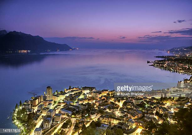 bank of lake geneva - montreux stock pictures, royalty-free photos & images