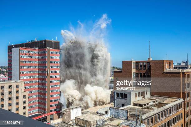 bank of lisbon building being demolished in johannesburg - demolishing stock pictures, royalty-free photos & images