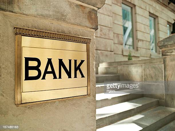 bank plaque on an important finance building - bank financial building stock pictures, royalty-free photos & images