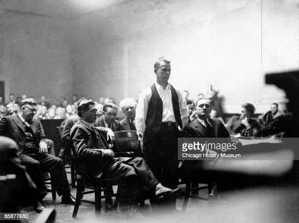 Bank robber John Dillinger stands in court Crown Point Indiana 1934