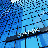 Bank sign on a modern glass building. 3D render.