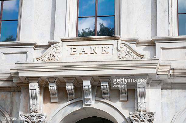 Bank sign on marble facade