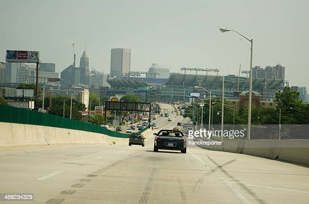 m&t bank stadium from the highway in baltimore - m&t bank stadium stock pictures, royalty-free photos & images