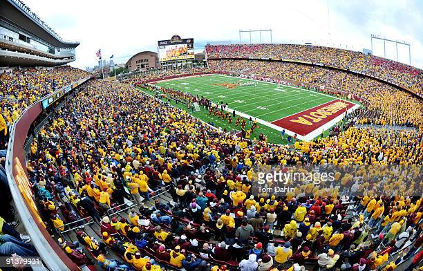 Bank Stadium is filled during a NCAA football game pitting the Minnesota Golden Gophers against the Wisconsin Badgers on October 3 2009 at TCF Bank...