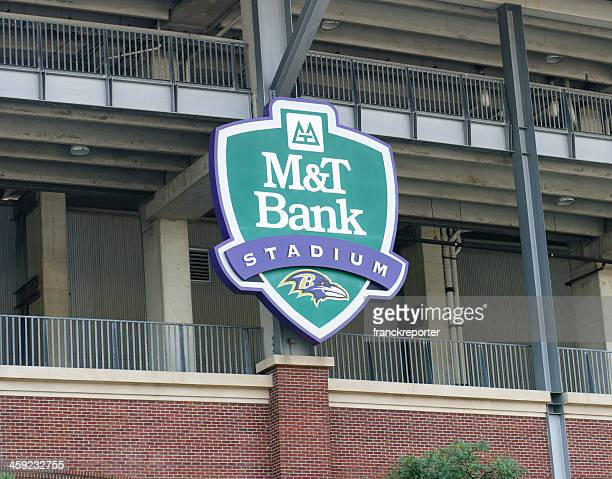 m&t bank stadium sign in baltimore - m&t bank stadium stock pictures, royalty-free photos & images