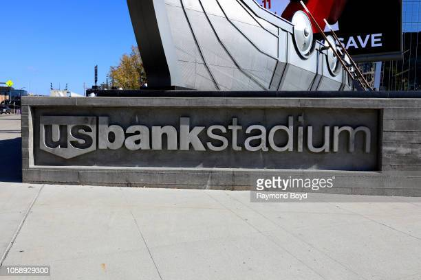 Bank Stadium signage, home of the Minnesota Vikings in Minneapolis, Minnesota on October 13, 2018.
