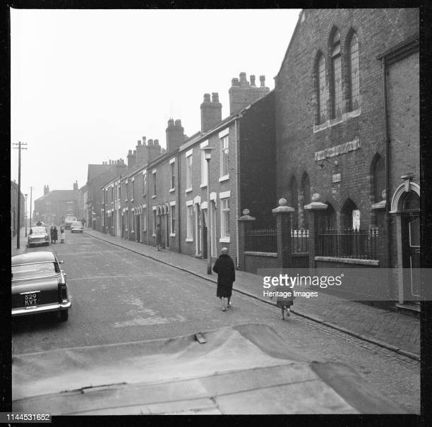 Bank Street Tunstall StokeonTrent 19651968 A view looking west along Bank Street with the Methodist Chapel in the foreground Artist Eileen Deste